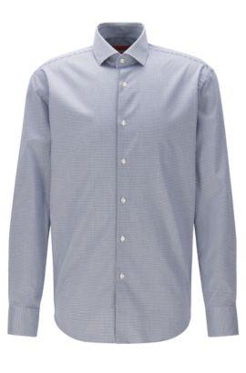 Regular-fit non-iron shirt in checked cotton twill, Dark Blue