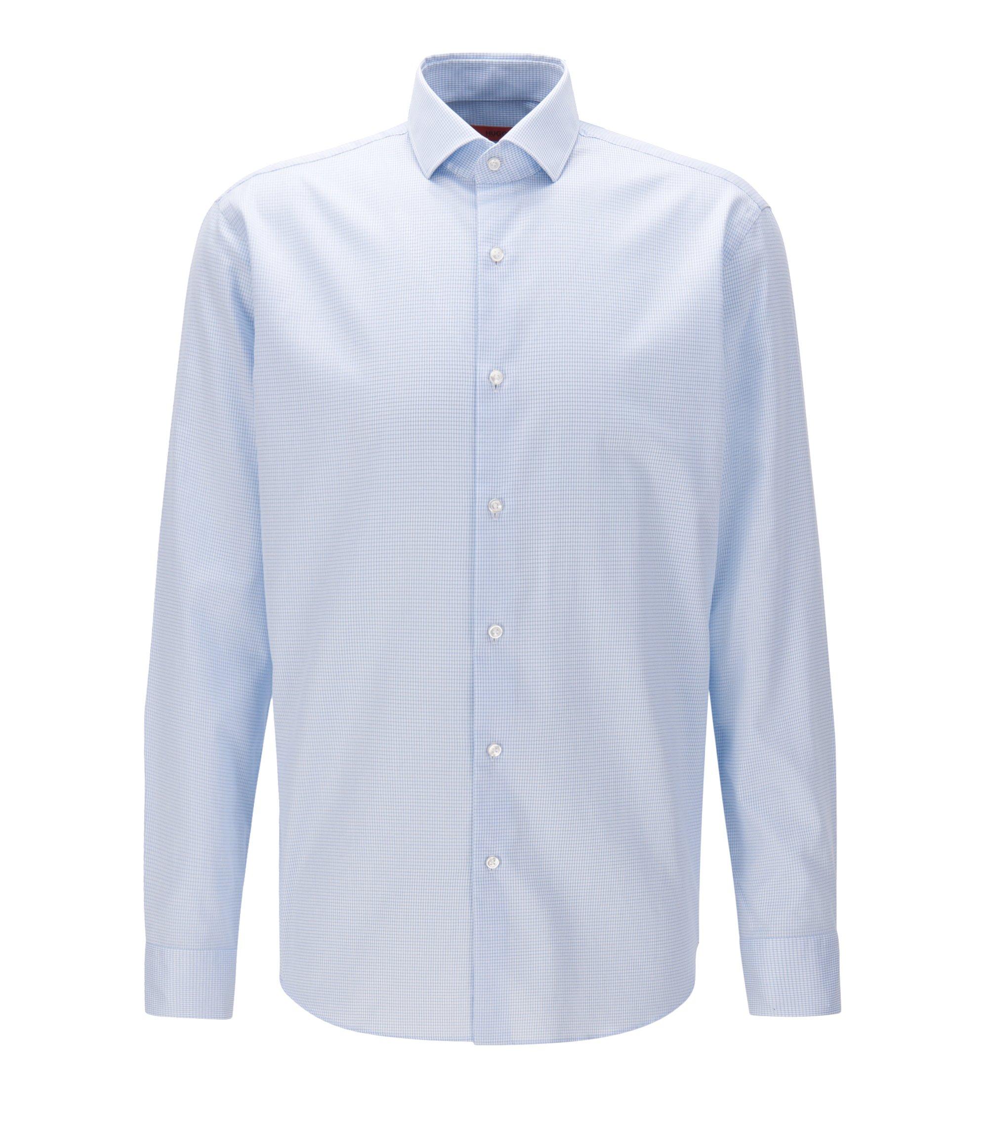 Camisa regular fit en sarga de algodón a cuadros sin necesidad de planchado, Celeste