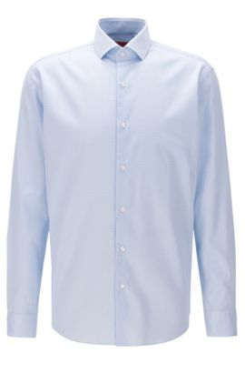 Chemise Regular Fit en twill de coton à carreaux sans repassage, Bleu vif