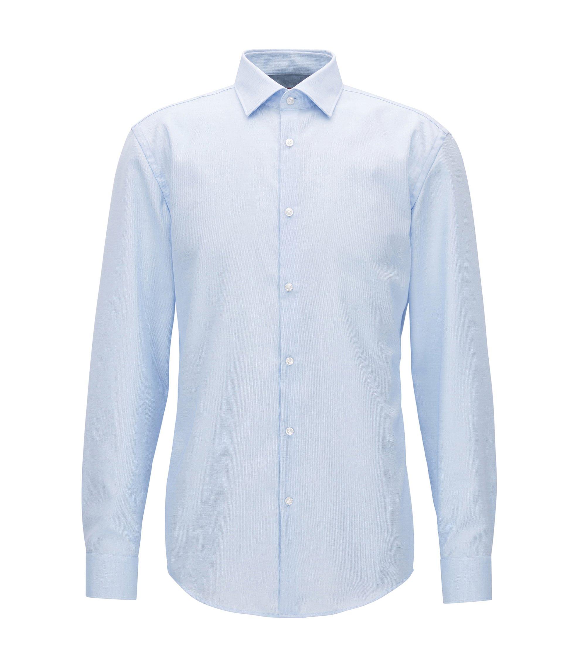 Camicia slim fit in cotone con microdisegni, Celeste