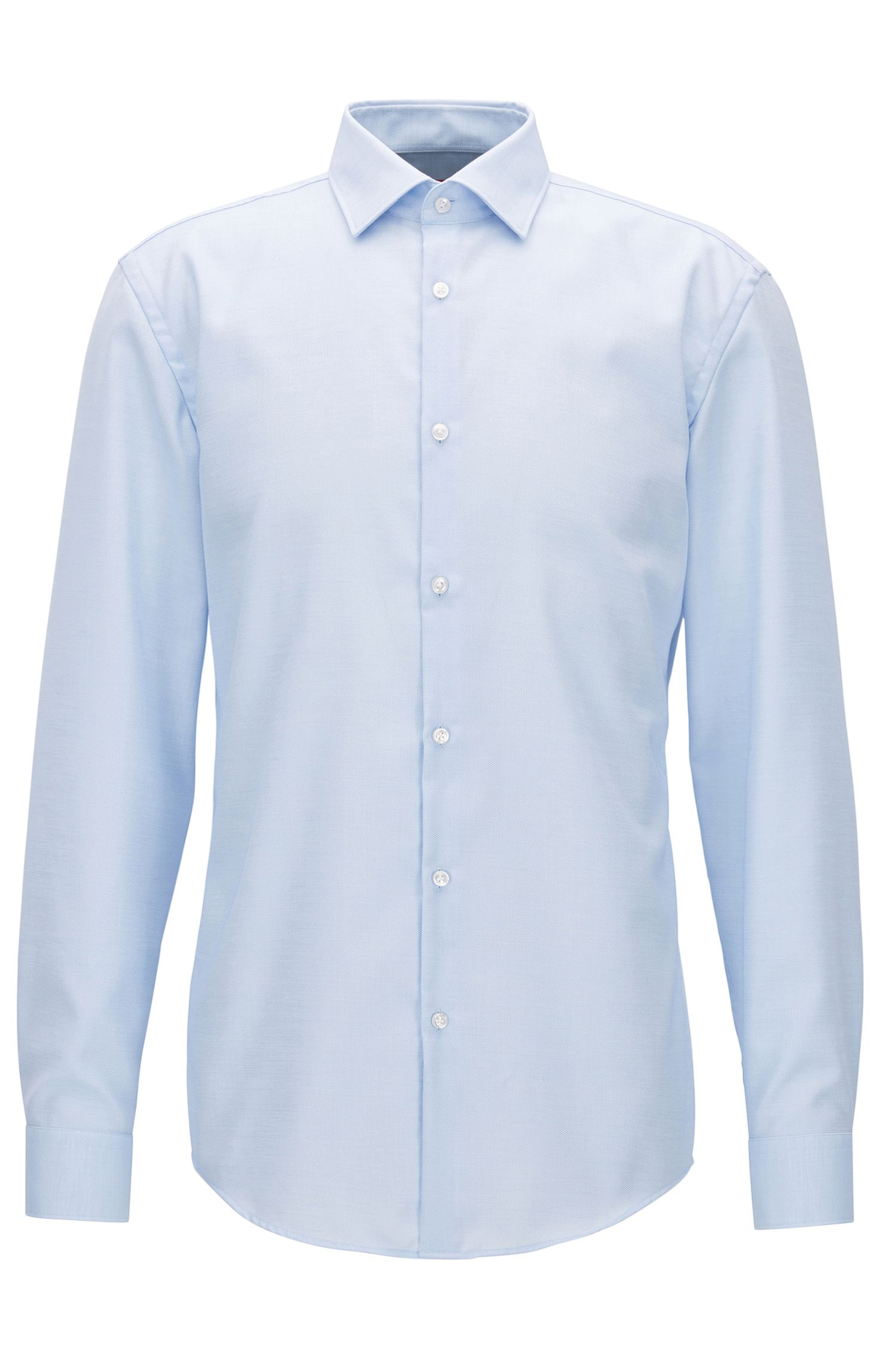 Cotton micro-pattern shirt in a slim fit