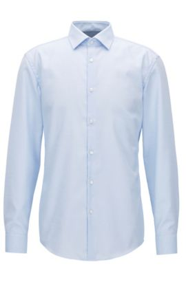 Cotton micro-pattern shirt in a slim fit, Light Blue