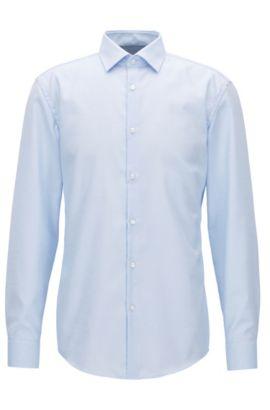 Gemustertes Slim-Fit Hemd aus Baumwolle, Hellblau