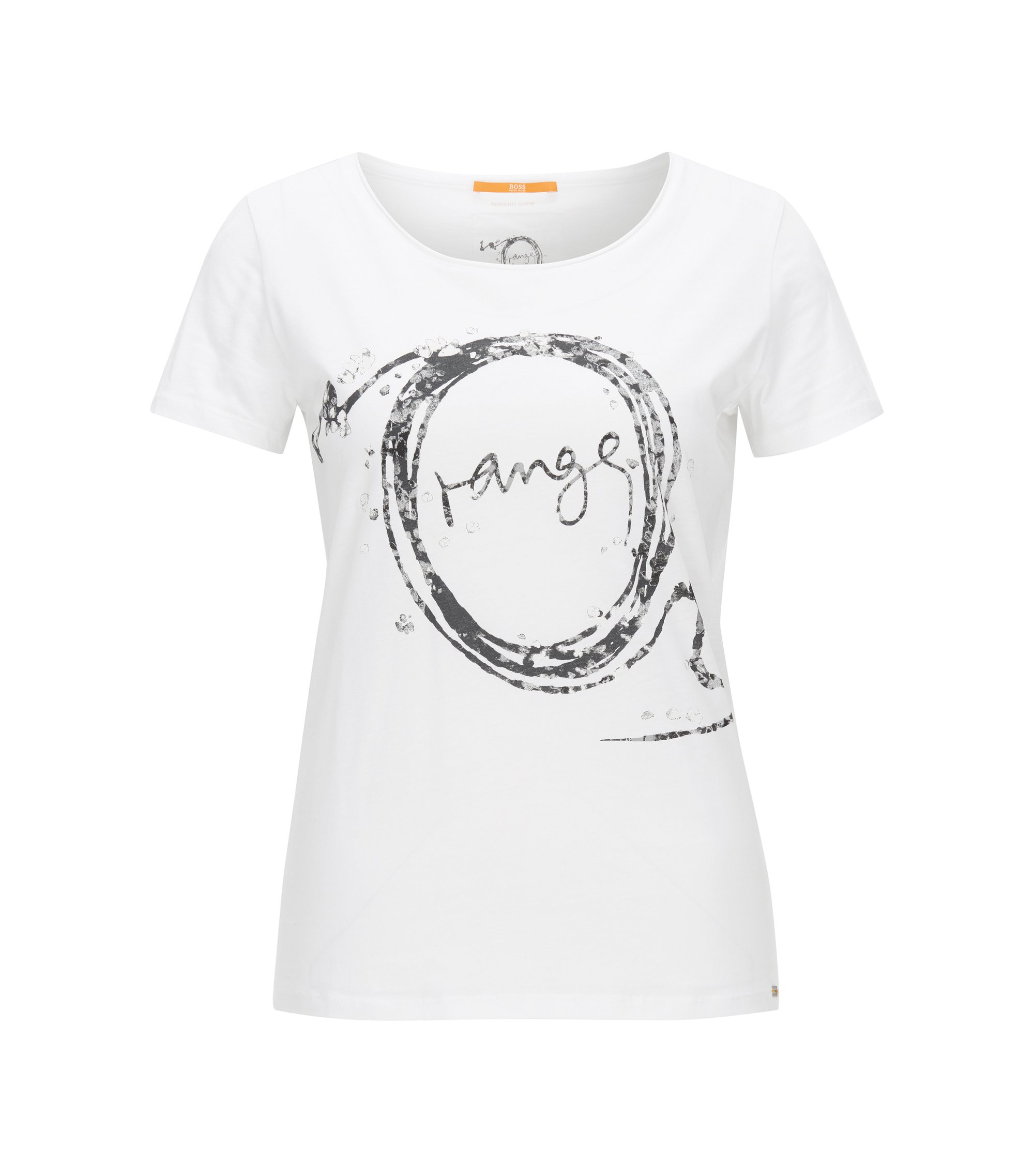 Slim-fit T-shirt van single jerseykatoen met print, Wit