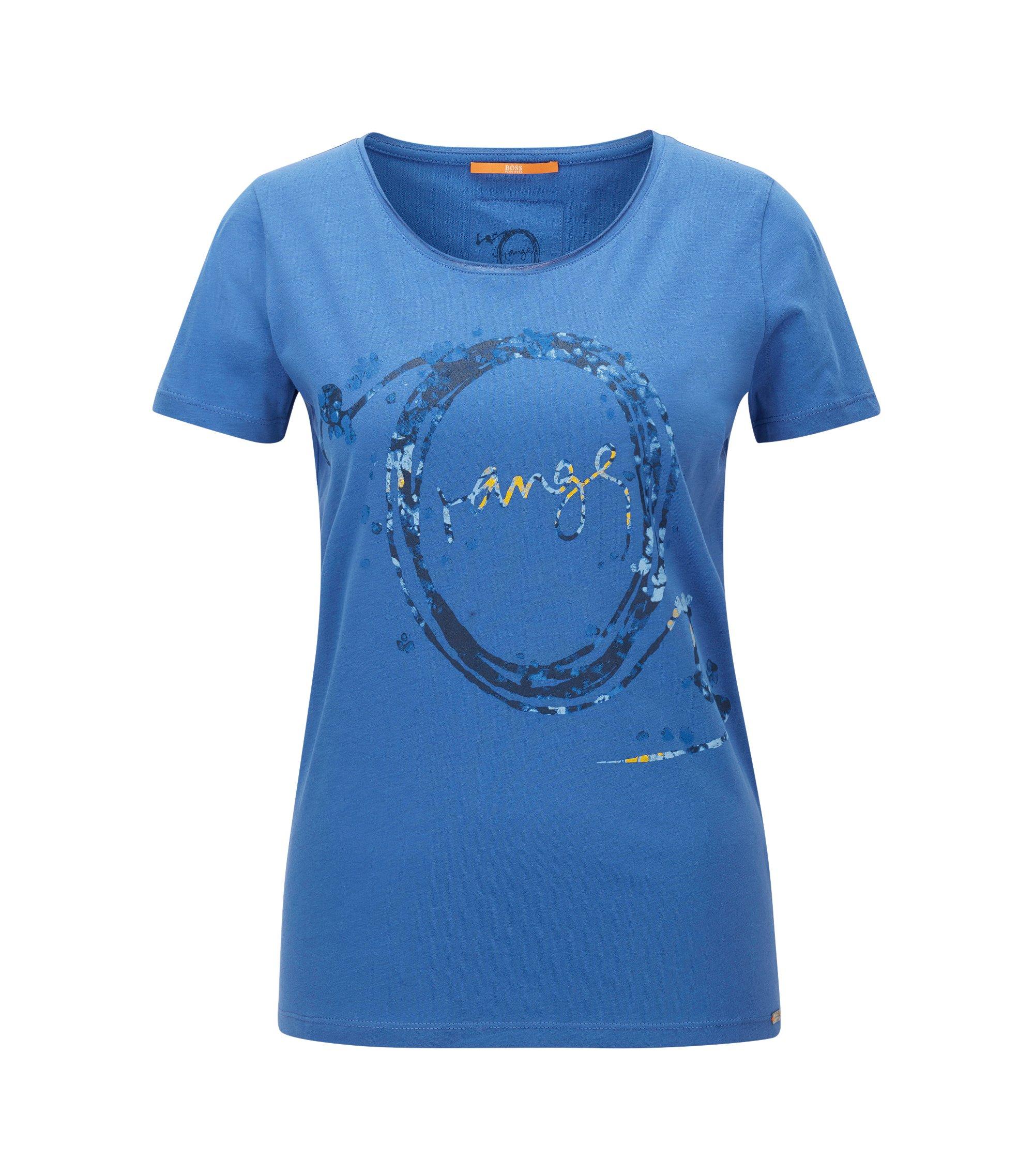 T-shirt Slim Fit imprimé en jersey de coton simple, Bleu