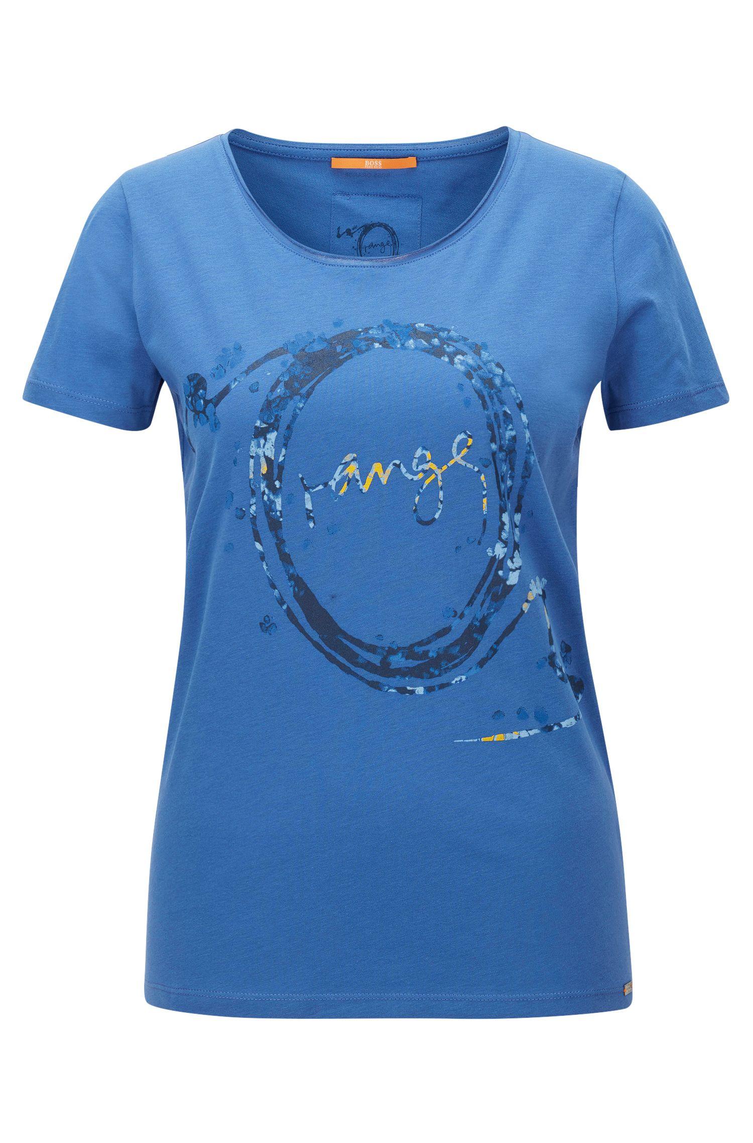 T-shirt slim fit con stampa in jersey singolo di cotone