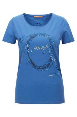 Slim-Fit T-Shirt aus Baumwolle mit Print, Blau