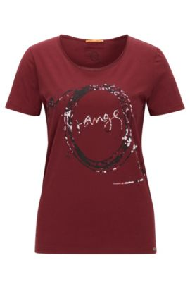 Slim-fit printed T-shirt in single cotton jersey, Dark Red