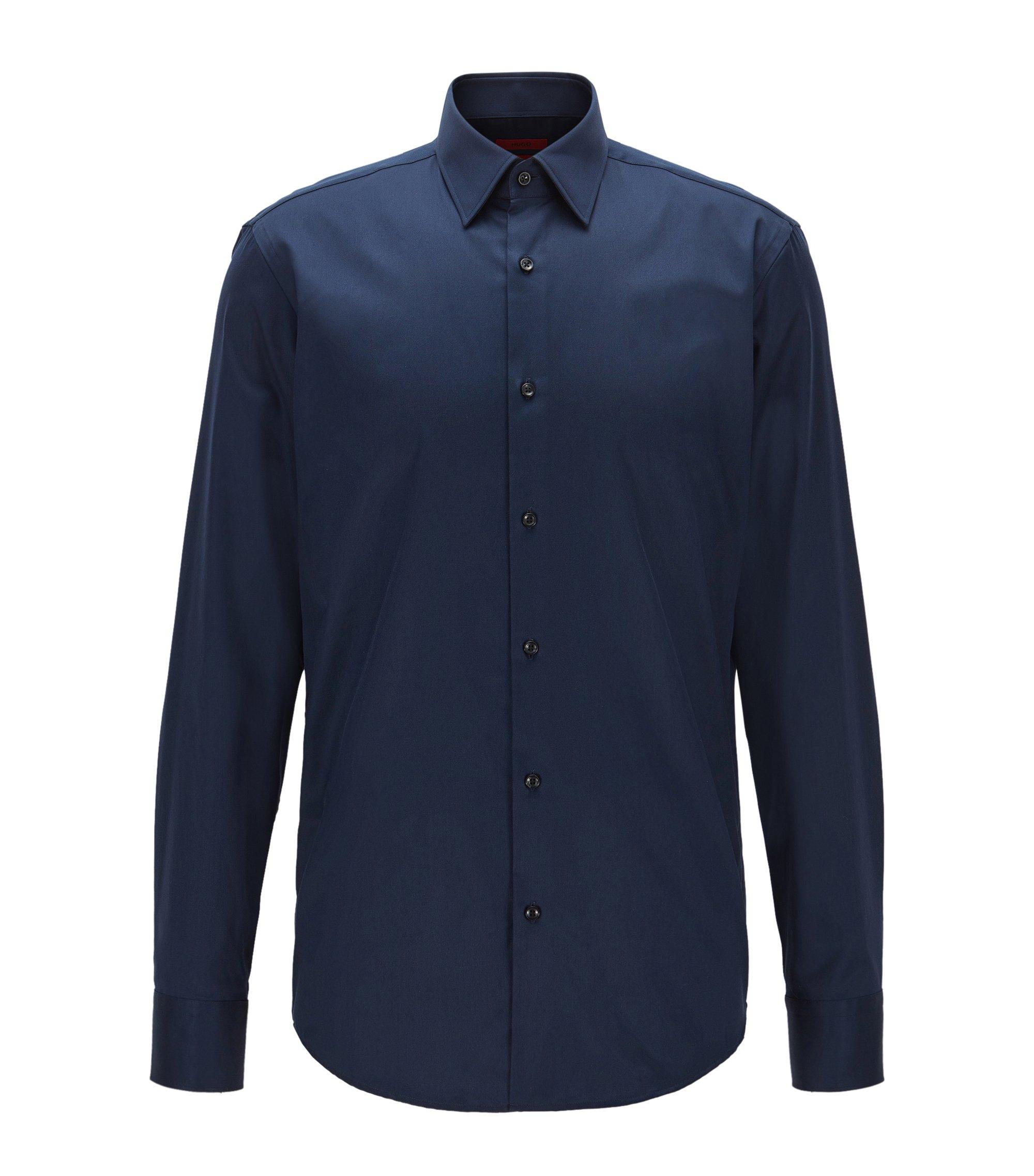 Regular-Fit Hemd aus Baumwolle mit diagonaler Streifen-Struktur, Dunkelblau
