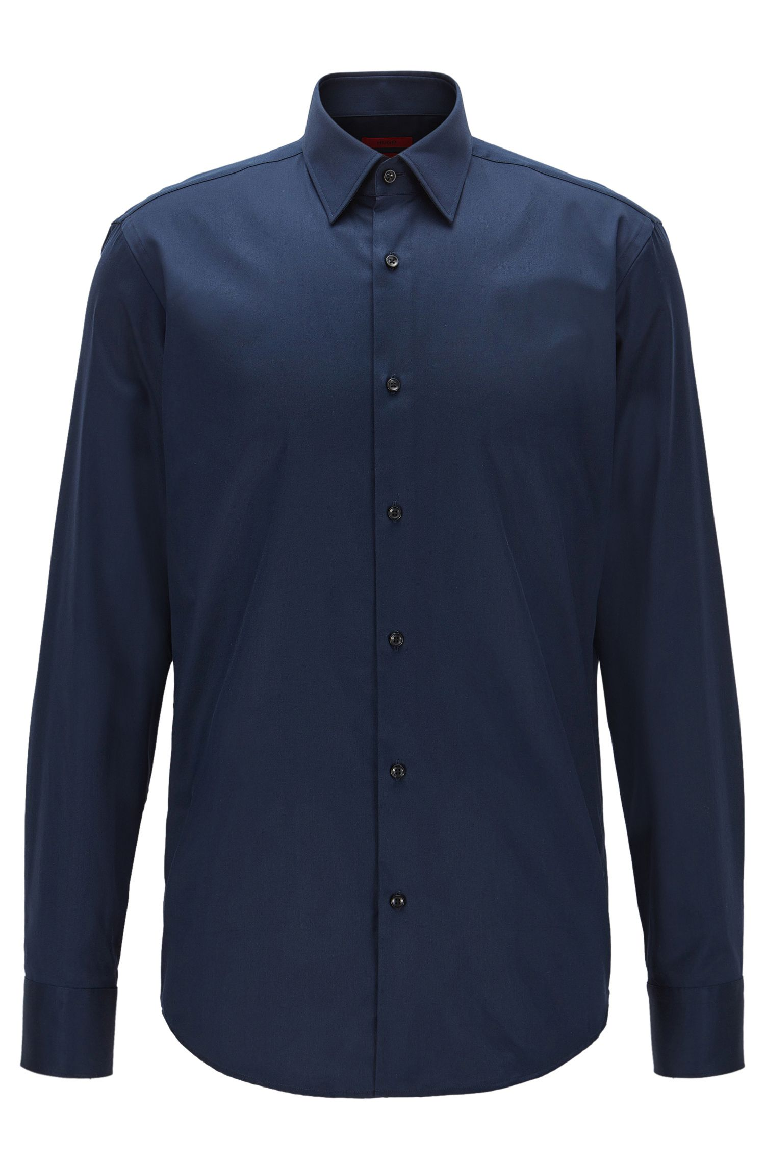 Regular-fit shirt in diagonal striped cotton