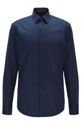Regular-fit overhemd van diagonaal gestreepte katoen, Donkerblauw