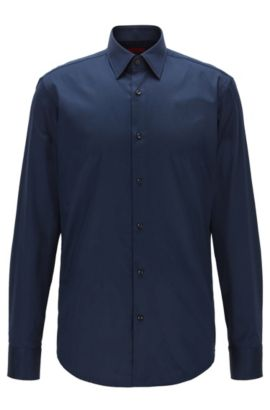Regular-fit shirt in diagonal striped cotton, Dark Blue