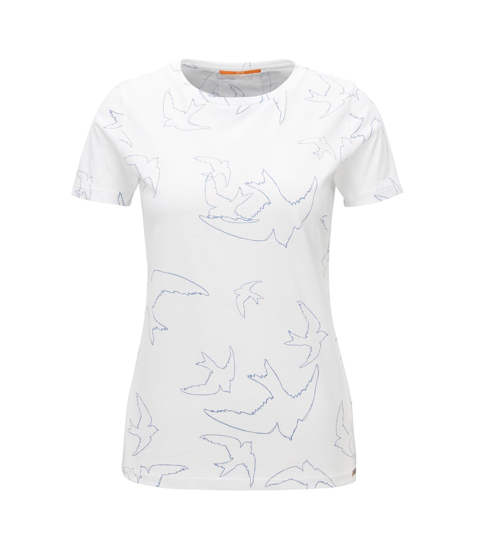 T-shirt slim fit in jersey singolo con motivo con uccelli , Bianco