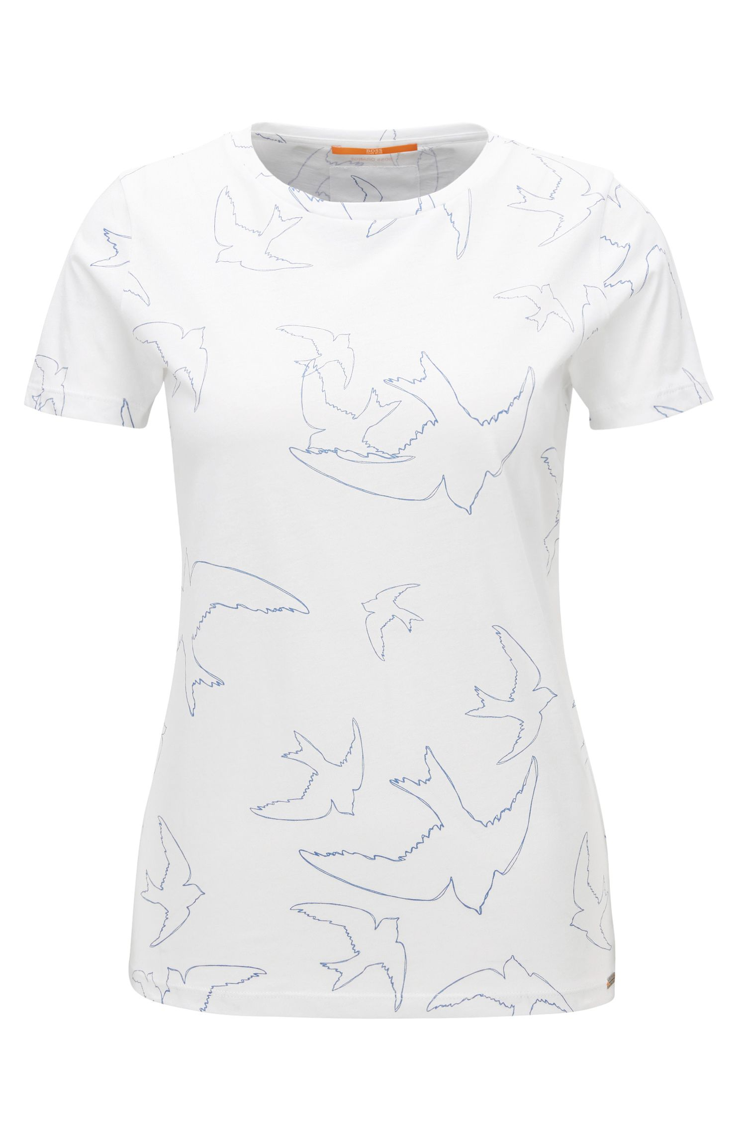 T-shirt Slim Fit en jersey simple à motif oiseau