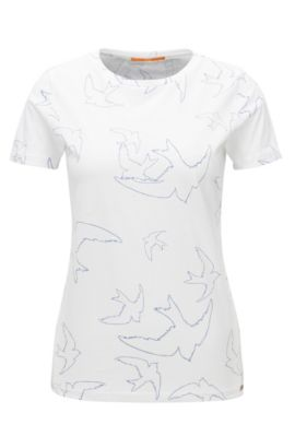 Slim-Fit T-Shirt aus Single-Jersey mit Vogel-Print , Weiß
