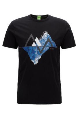 Graphic-print cotton jersey T-shirt in a regular fit, Zwart