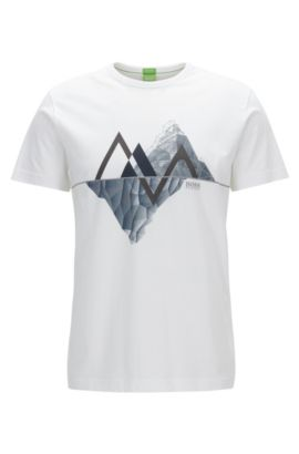 Graphic-print cotton jersey T-shirt in a regular fit, Bianco