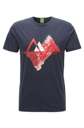 Graphic-print cotton jersey T-shirt in a regular fit, Dark Blue