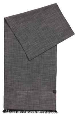 Écharpe en coton ornée du logo tissé, Gris chiné
