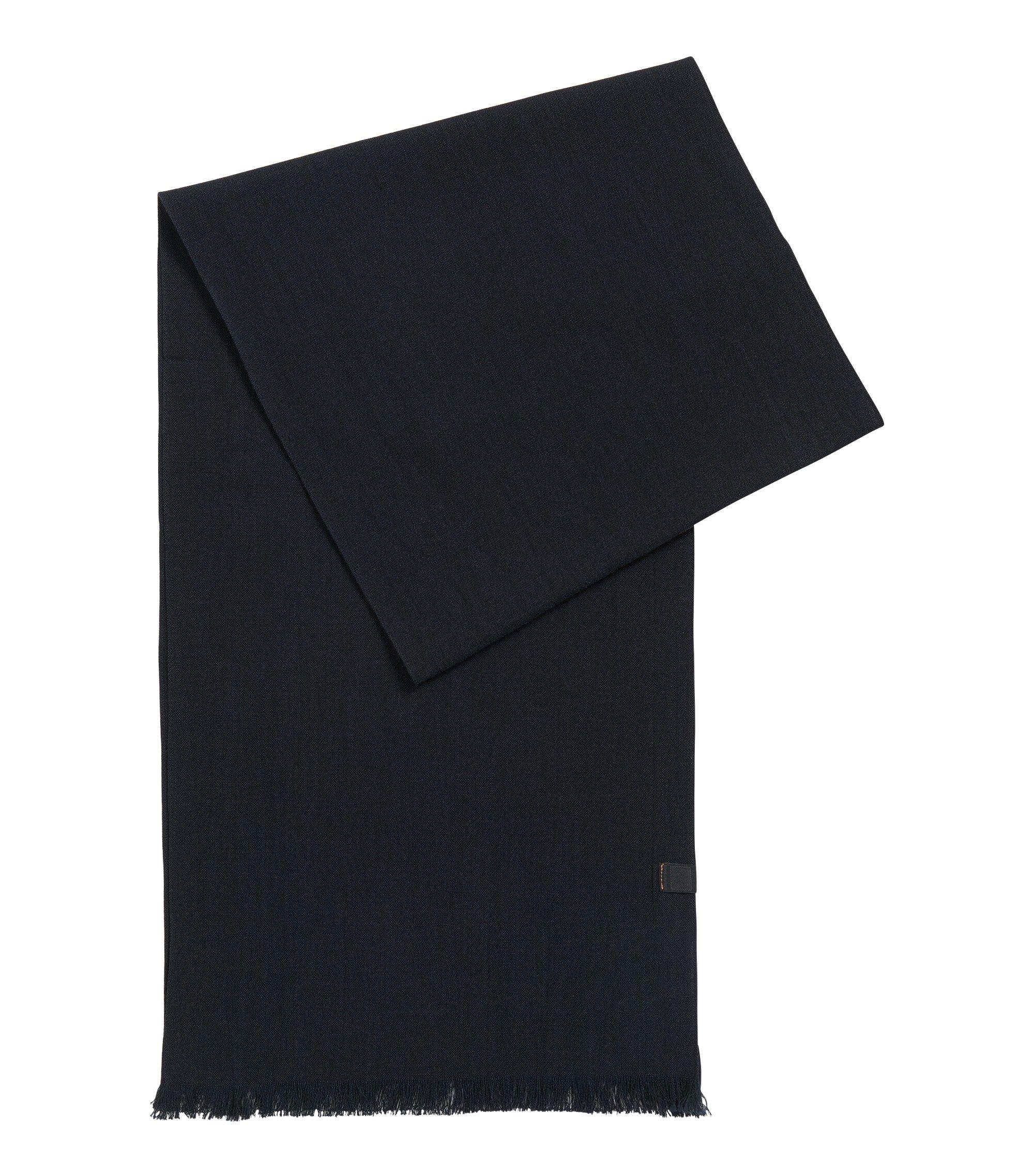 Écharpe en coton ornée du logo tissé, Bleu foncé