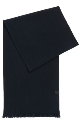 Cotton scarf with woven logo, Dark Blue