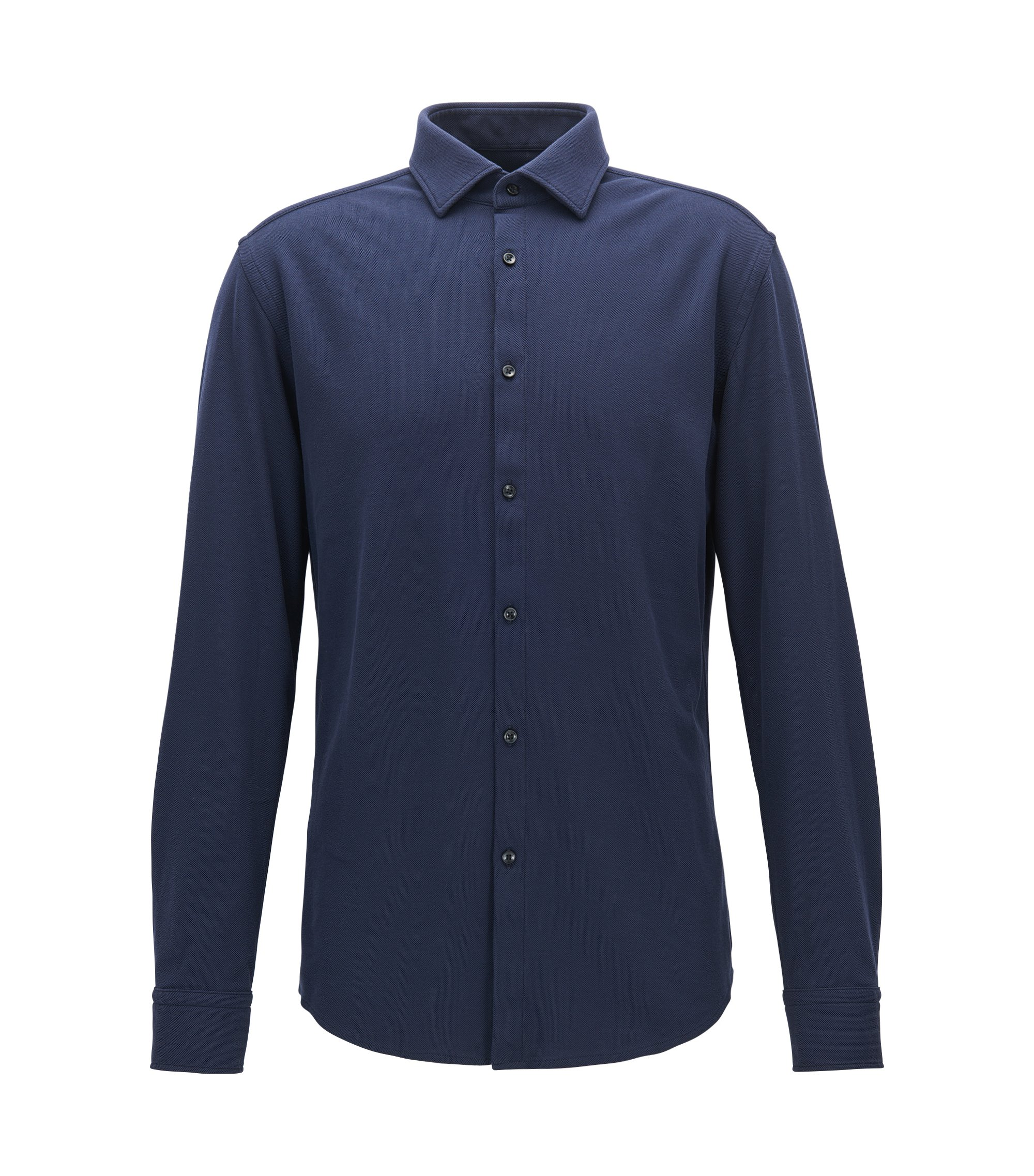 Slim-fit shirt in cotton jersey, Dark Blue