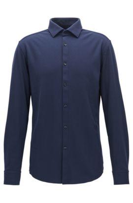 Camicia slim fit in jersey di cotone, Blu scuro