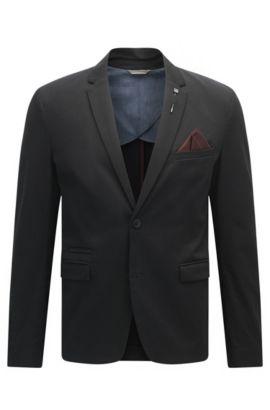 Slim-Fit Sakko aus elastischer Baumwolle, Schwarz