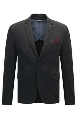 Slim-fit jacket in stretch cotton, Black
