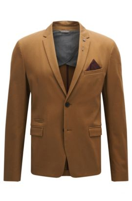 Slim-fit jacket in stretch cotton, Beige