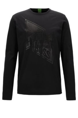 T-shirt manches longues Regular Fit en coton, Noir