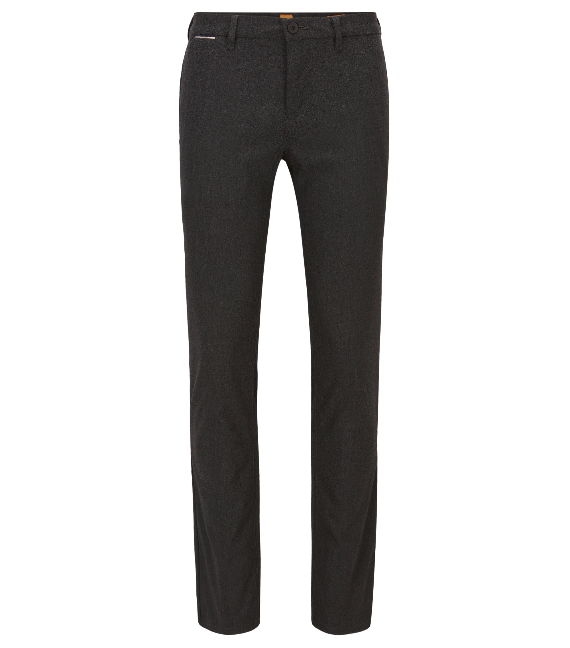 Pantalon Slim Fit en tissu Oxford chiné, Noir