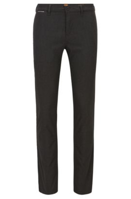 Pantaloni slim fit in tessuto Oxford mélange, Nero