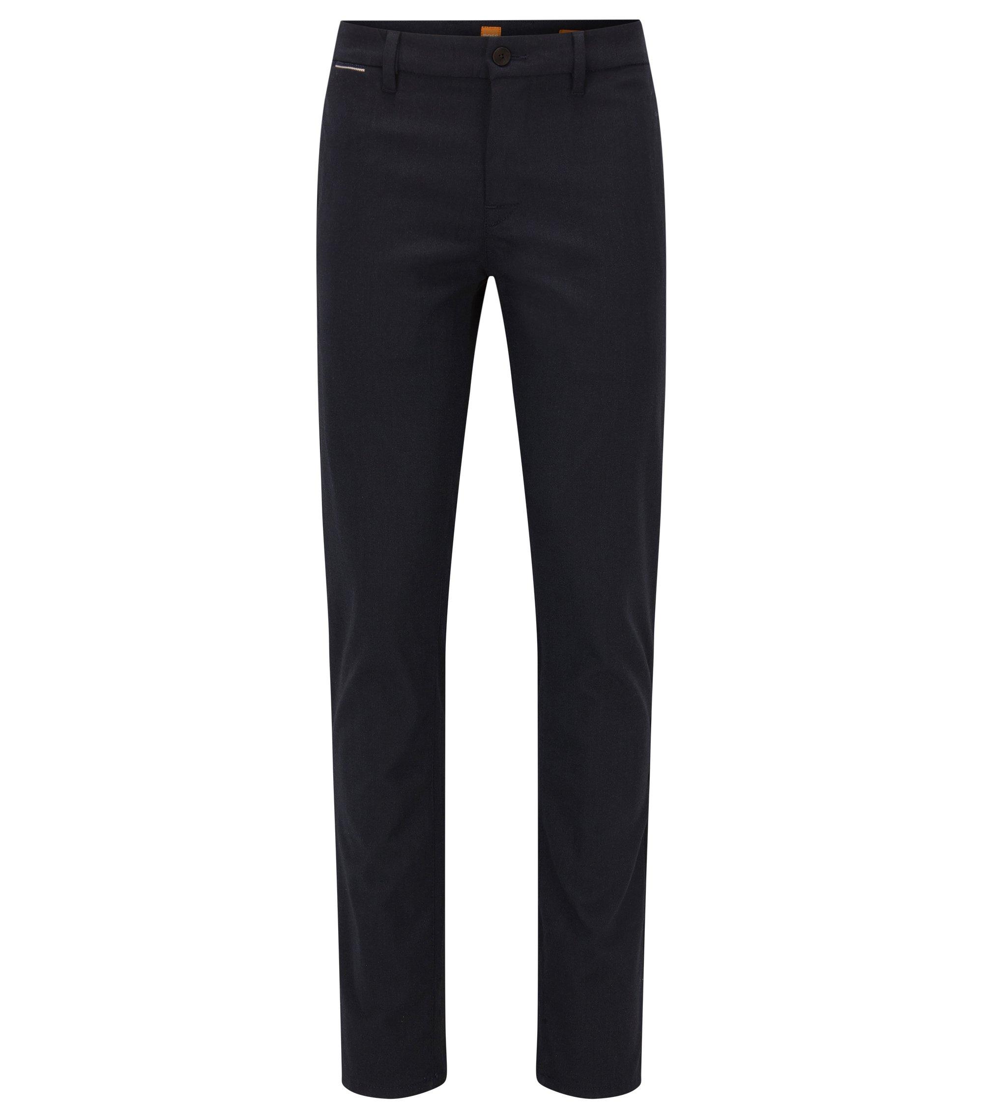 Pantalon Slim Fit en tissu Oxford chiné, Bleu foncé