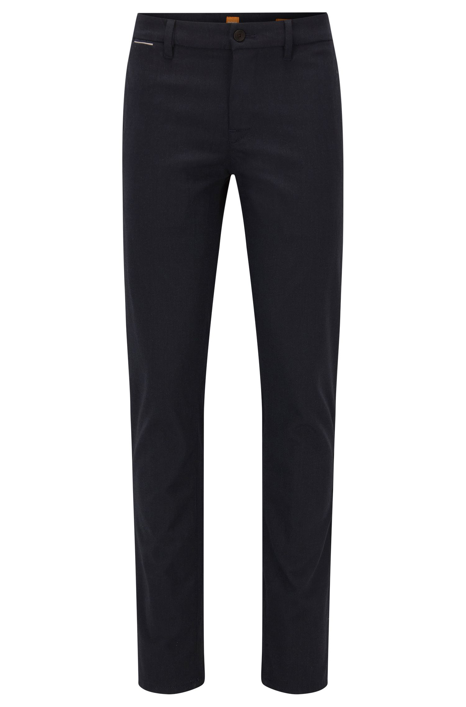 Pantaloni slim fit in tessuto Oxford mélange