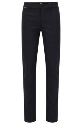 Pantaloni slim fit in tessuto Oxford mélange, Blu scuro