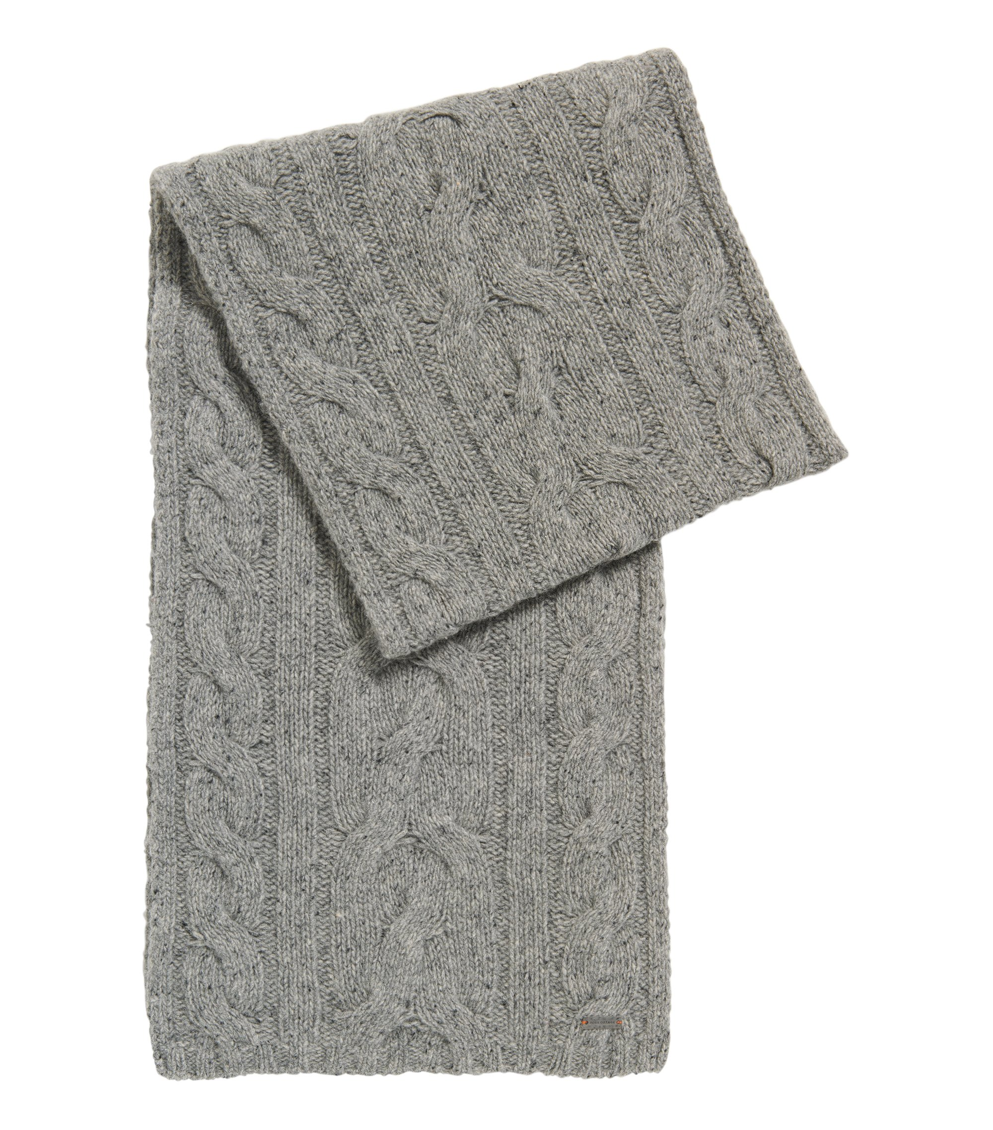 Cable-knit wool-blend scarf, Grey