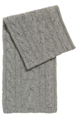 Schal mit Zopfmuster aus Woll-Mix, Grau