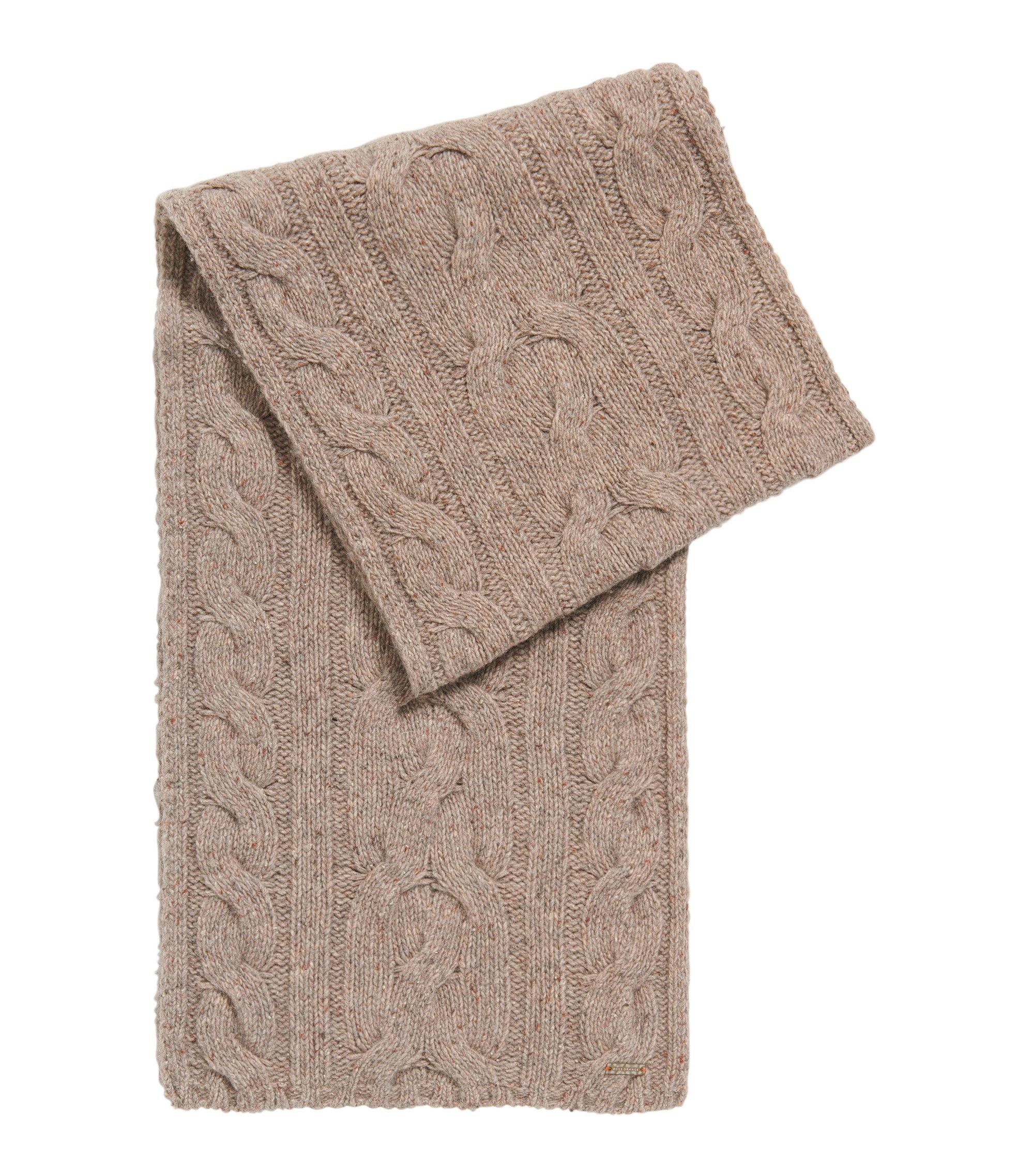 Bufanda de punto trenzado en mezcla de lana, Natural