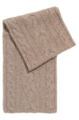 Cable-knit wool-blend scarf, Natural