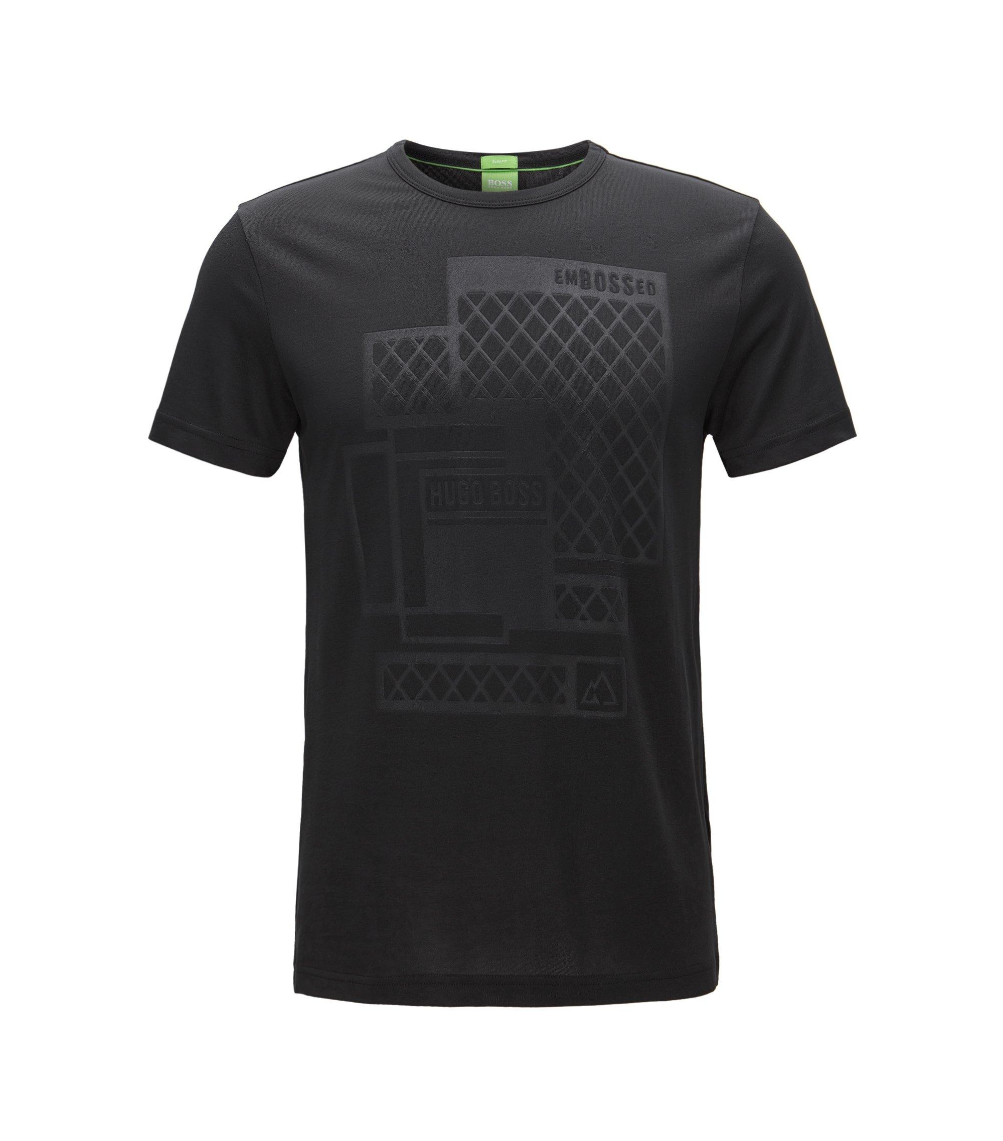 Slim-Fit T-Shirt aus Single Jersey mit Logo-Prägung, Schwarz
