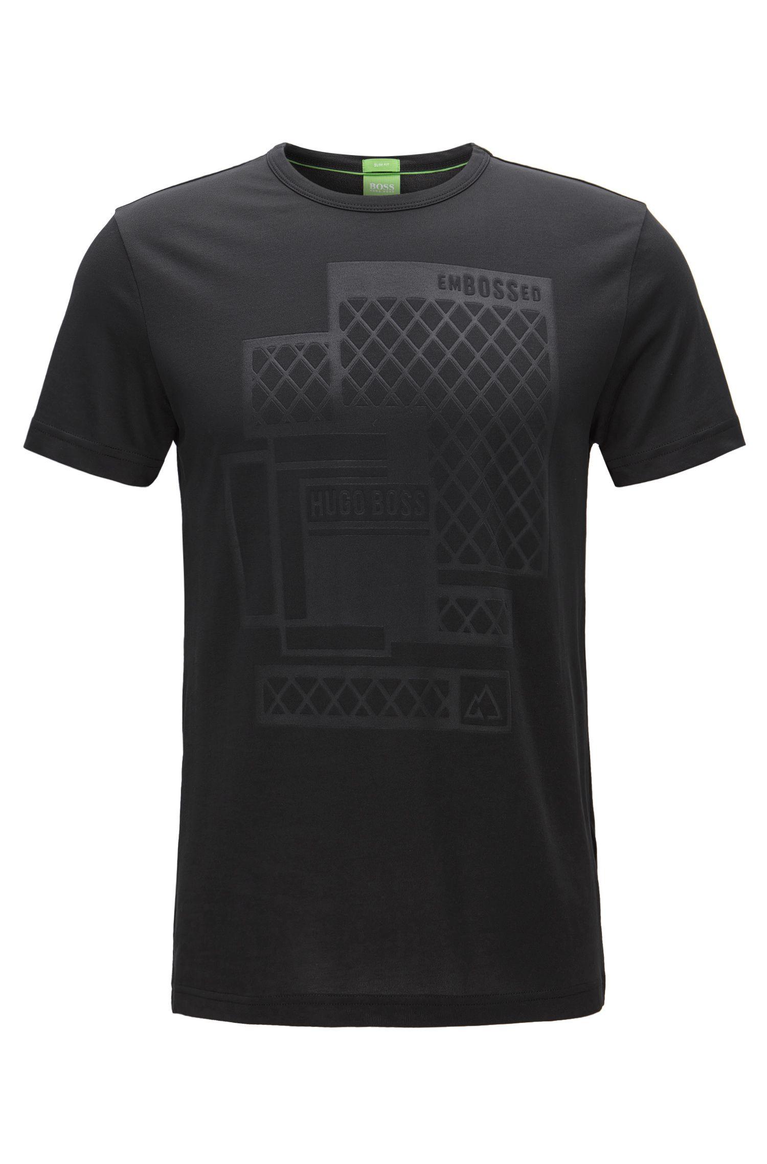 T-shirt Slim Fit estampé en jersey simple à logo estampé