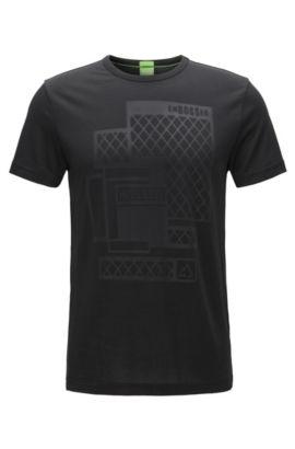 Slim-fit embossed T-shirt in single jersey, Black