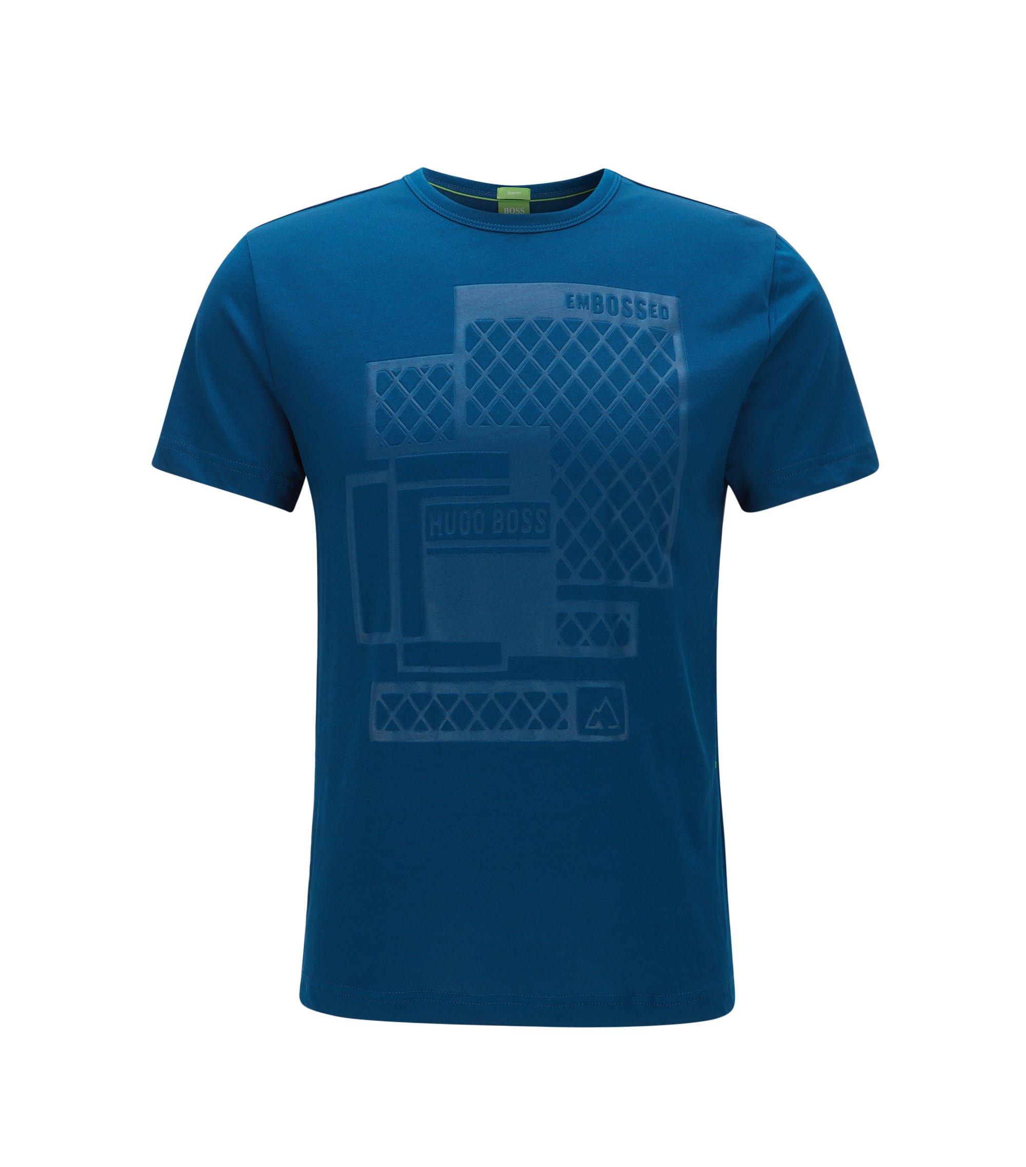 T-shirt Slim Fit estampé en jersey simple à logo estampé, Bleu