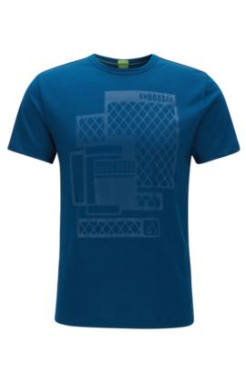 Slim-fit embossed T-shirt in single jersey, Blue