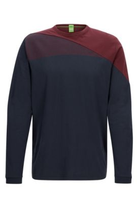 Regular-Fit Pullover aus Baumwolle im Colour Block Design, Dunkelblau