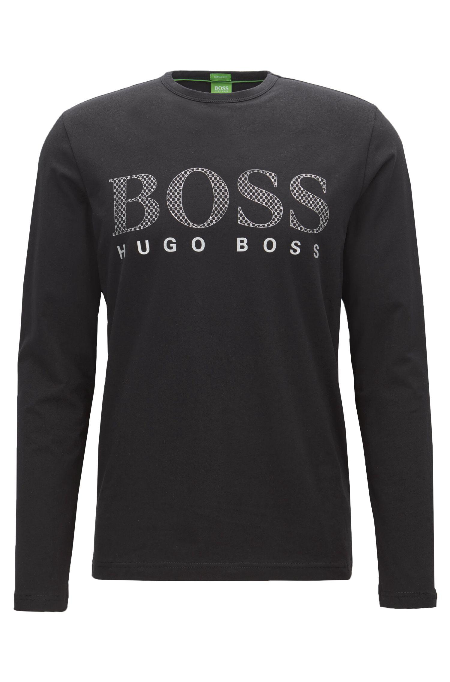 Regular-fit long-sleeved jersey T-shirt with tonal logo print