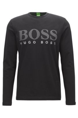 Regular-fit long-sleeved jersey T-shirt with tonal logo print , Black