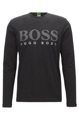 Regular-fit long-sleeved jersey T-shirt with tonal logo print , Zwart