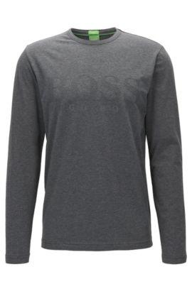T-shirt à manches longues Regular Fit, en jersey à imprimé logo ton sur ton , Gris